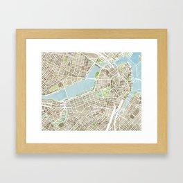 Boston Sepia Watercolor Map Framed Art Print