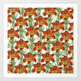 Vintage orange yellow green lily floral pattern Art Print
