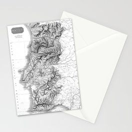 Vintage Map of Portugal (1818) BW Stationery Cards