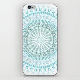 Turquoise White Mandala iPhone Skin
