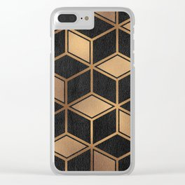 Charcoal and Gold - Geometric Textured Cube Design II Clear iPhone Case