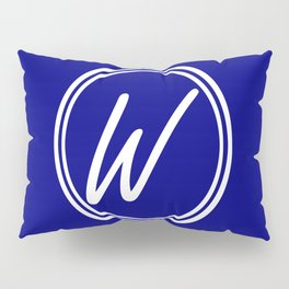 Monogram - Letter W on Navy Blue Background Pillow Sham