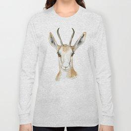 Springbok Antelope Watercolor Painting Long Sleeve T-shirt
