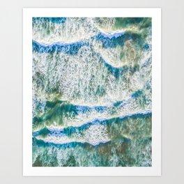 Aerial choppy waves Art Print