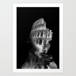 Coliseum. Double exposure portrait Art Print