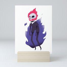 Halloween burning dead skulls Mini Art Print