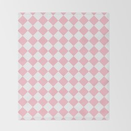 Diamonds - White and Pink Throw Blanket