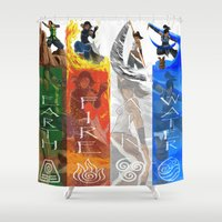 the legend of korra Shower Curtains featuring Legend of Korra Elements by paulovicente