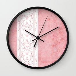 Delicate White Stripe Butterfly Pattern Pink Texure Design Wall Clock