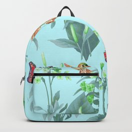hummingbird floral blue Backpack