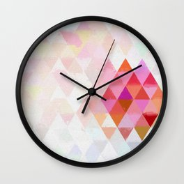 Abstract pink pastell triangle pattern- Watercolor illustration Wall Clock