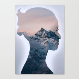 Mountain Woman - Double Exposure Poster Canvas Print