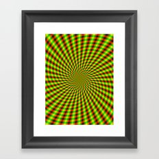 Spiral Rays in Yellow Green and Red Framed Art Print
