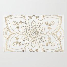 Chic elegant white faux gold spiritual floral mandala Rug