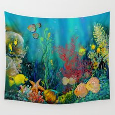 Undersea Art With Coral Wall Tapestry