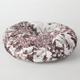 Fresh Snow On Red Leaves Floor Pillow