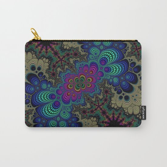 Peacock Fractal Carry-All Pouch