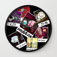 invader zim Wall Clocks featuring Invader Zim Photo Collage by kltj11