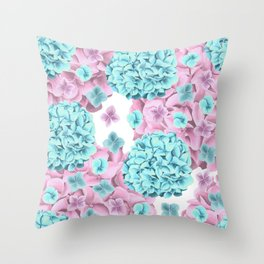 Modern girly pink teal watercolor hortensia pattern Throw Pillow
