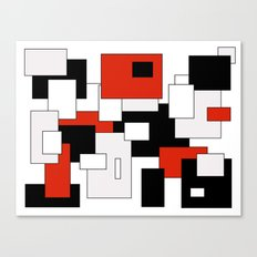 Squares - red, gray, black and white Canvas Print