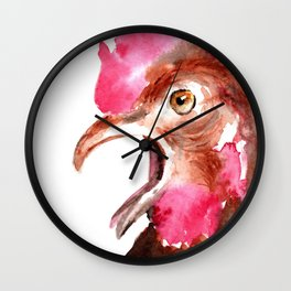 Watercolour Cute Funny Rooster by ili Wall Clock