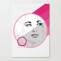 dolly parton Canvas Prints featuring Dolly by Cecily Cloud