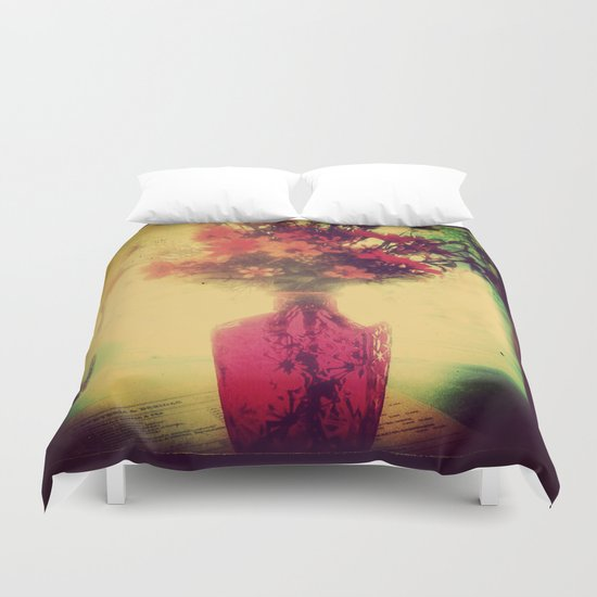 Vintage Flowers of August Duvet Cover