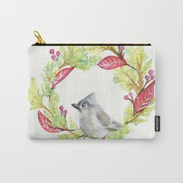 Bird in Christmas Wreath Carry-All Pouch