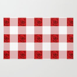Red Rose Check Pattern Rug