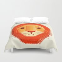 lion Duvet Covers featuring Sad lion by Lime