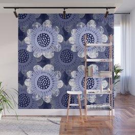 Retro Flower Wheels on Denim Blue Wall Mural