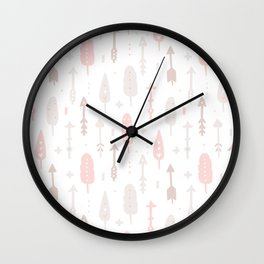 Bohemian blush pink brown feathers arrows pattern Wall Clock