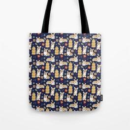 Corgis celebrate christmas - blue pattern Tote Bag