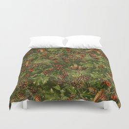 Traditional Holly Christmas Pattern Duvet Cover