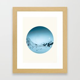 Mid Century Modern Round Circle Photo Snow Covered Winter Mountain Valley Framed Art Print