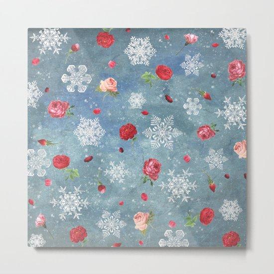 Snow and Roses Metal Print