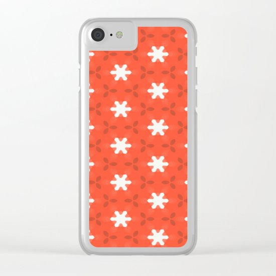 white star on red pattern Clear iPhone Case