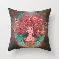 medusa Throw Pillows featuring Medusa by Kindra Haugen