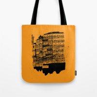 hong kong Tote Bags featuring Hong Kong Flats by Miguel Villasanta
