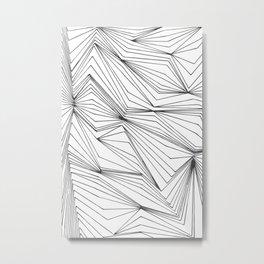 Zig Zag Lines Black Metal Print