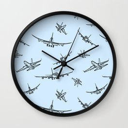 Airplanes on Light Blue Wall Clock