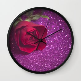 Rose over purple abstract background with bokeh defocused lights Wall Clock