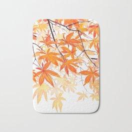 orange maple leaves watercolor Bath Mat