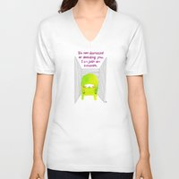 introvert V-neck T-shirts featuring Introvert by Chika Ando