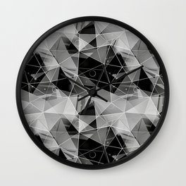 Black and white polygonal pattern. Wall Clock