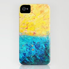THE DIVIDE - Stunning Bold Colors, Ocean Waves Sun, Modern Beach Chic Theme Abstract Painting iPhone (4, 4s) Slim Case