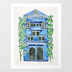 Tropical Blue House Art Print