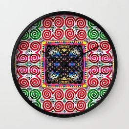 Endless snail Hmong art Wall Clock