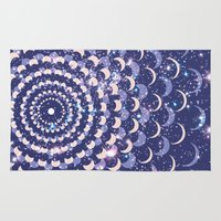 moon phases Area & Throw Rugs featuring Moon Phases by Cina Catteau