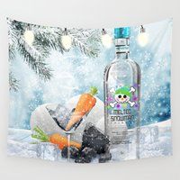 martini Wall Tapestries featuring Holiday Cheer! (Melted Snowman Spirits) by soaring anchor designs